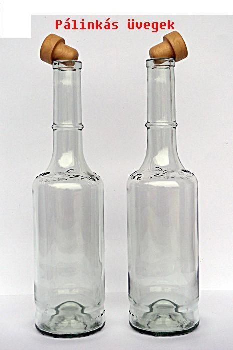 0,5 l-es pálinkás üveg,alacsony , dugóval